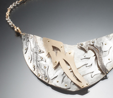 Riveted Collar of Sterling Silver, Gold fill, Gold & Brass