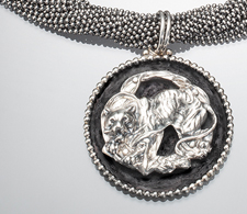 Tiger on Black and Silver Disc